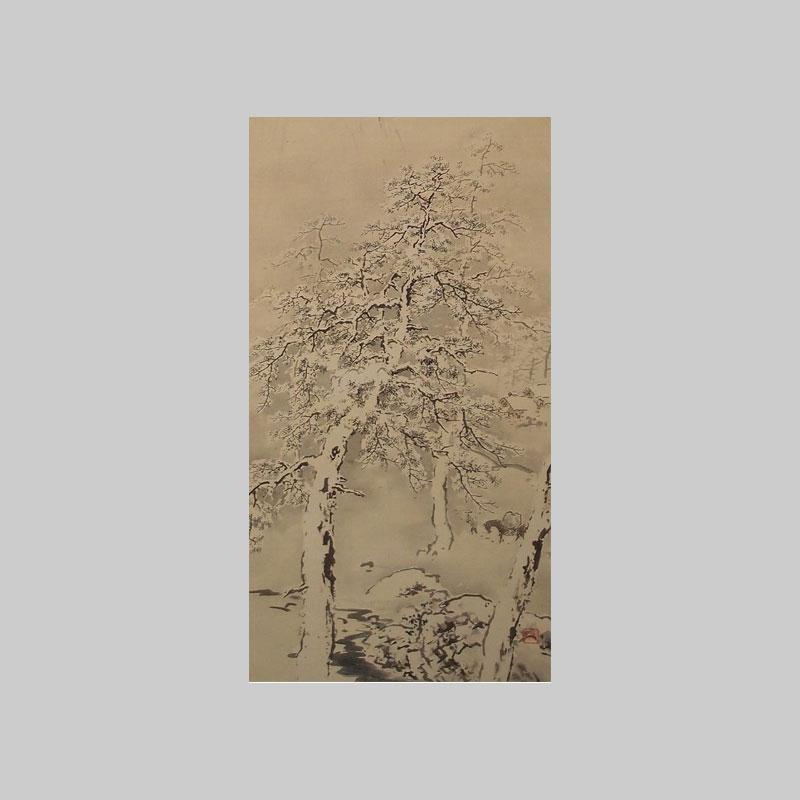 paesaggio invernale rotolo giapponese vendita online bonsai creativo