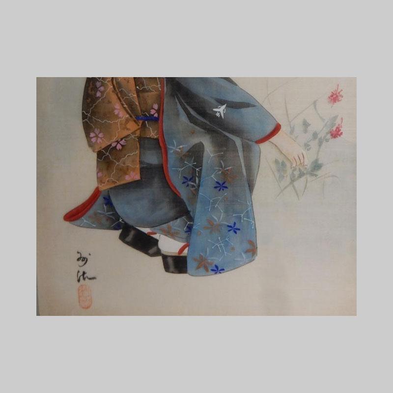 particolare a colori pergamena ragazza in kimono giapponese